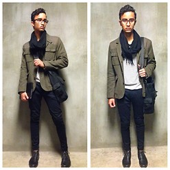 Gabriel Burgos - Zara Skinny Jeans, Asos Olive Wool Jacket, Gap Stripped Long Sleeve, Aldo Black Scarf, Vespa Messenger Bag - Insightful