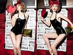 Stella Rose . - Stella Glitter Bow, Stella Bubble Clutch, Renee Masoomian Latex Bathing Suit, Stella Fringe Earrings - LAUNCH PARTY