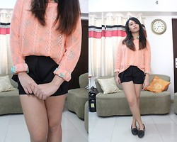 Lesly D. - Romwe Hollowed Pastel Orange Jumper, Hotkiss Floral Buttondowm, Shopaholic! Black Pleated Shorts, So! Fab Black Tasseled Loafers - Preppy in Pastel