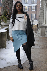 Simedar - Helmut Lang Skirt, Guess? Sweater, Topshop Boyfriend Coat, Topshop Tights - Ram's Head