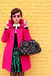 Keiko Lynn - Trina Turk Hot Pink Coat, Lulu By Guinness Polka Dot Bag, Ted Baker Bow Shirt, Quay Pink Cat Eye Sunglasses, Tabbisocks Polka Dot Tights, Handmade Skirt - Paint a picture so bright