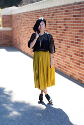 Grace H - Shakuhachi Lace Inset Chiffon Shirt, Topshop Chartreuse Double Slit Midi, Steve Madden Leather Boots - Slitted up.