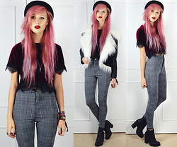 Amy Valentine - Topshop Pork Pie Hat, Ark Velvet Lace Crop Top, Missguided Dogstooth Leggings, Ark Black Chelsea Boots, Sheinside Leather Fur Jacket - LOST IN A VALLEY OF SMOKE