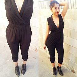 Yessenia L. - Urban Outfitters Black Jumpsuit, Lolashoetique Black Gold Cap Boots - In my jumpsuit