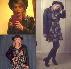 Rubi Rubinstein - H&M Hat, Guess? Vintage Leather Jacket, Zuppe Floral Dress, Bruno Premi Black Leather Boots - Bookshop