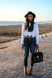 Ria Michelle - Choies Crop Top With Cat Pattern, Express Ankle Rolled Boyfriend Jeans, 3.1 Phillip Lim Medium Pashli Satchel In Black Croc, Saint Laurent Jane Sandal - Pacific Coast Cruisin'