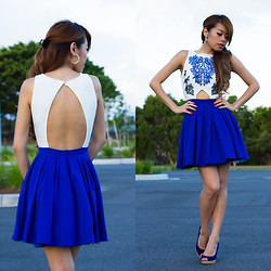 Debbie K - Honey Peaches Dress, Sportsgirl Blue Heels - China Blue