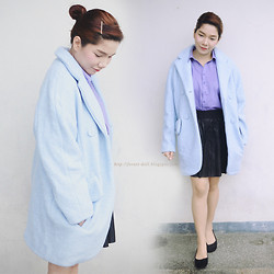 Marion Uy - Jessica Buurman Double Breasted Coat, Forever 21 Pleated Pleather Skirt, Uniqlo Button Down Shirt, Ballet Flats - Baby blue