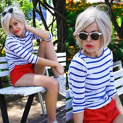 Priscila Diniz - Red Shorts, Striped Blouse - Navy baby!