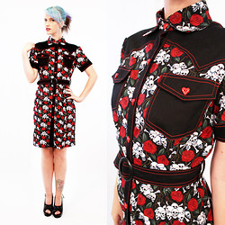 Romi Eff Ma'or - Agoraphobix All Buttoned Up And Ready To Go Shirt Dress, Demonia Peepe Toes - Feeling all skulls & roses
