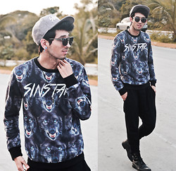 Bobby Raffin - Sinstar Wolf Pack Sweater, Pull & Bear Harem Pants, Sinstar Chambray Snapback, Wholesalecelebshades Metal Clubmaster - The Howling