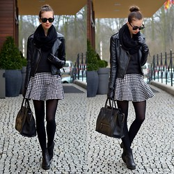 Barbora Ondrackova - Sheinside Fu Leather Jacket, Choies Houndstooth Skirt - BLACK AND HOUNDSTOOTH