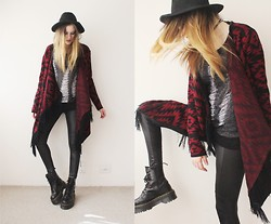 Jacqueline Illoz - Chicnova Destroyed Sweater, Lima Melão Cardigan, Chicnova Wet Legging, Oasap Hat, Dr. Martens Jadon Boots - Want you so bad i can taste it