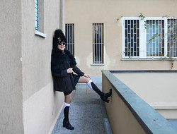 Olga Rink - My Design Hat, Made Myself Jacket, H&M Skirt, Iuri Socks, From England Boots - I love my socks.