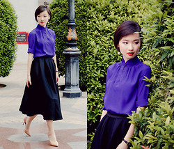 Uli C - Dressabelle Mandarin Collar Blouse, Taobao Midi Skirt, Zara Nude Leather Pumps - Love Letters