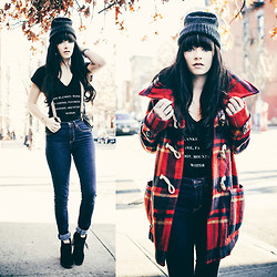 Rachel-Marie Iwanyszyn - Thrifted Beanie, Plaid Toggle Coat, Suspenders, Boots, Wildfox Couture Tee - WINTER LIST.