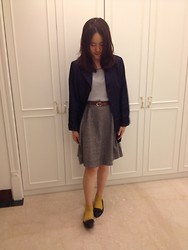 Elaine Hsu - Pensee Navy Blue Trench Coat, Earth Music & Ecology Striped X Lace T  Shirt, Starmimi A  Lined Skirt, Nine West Flat, Mustard  Yellow Socks - Navy blue trench coat X Old- school