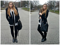 Dominika W. - H&M Coat With Fake Fur, J.Frezer Cardigan, New Look Bag, Badura Boots - Live fast die young, that's my choice.