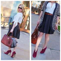 Zia Domic - Joe Fresh Peasant Blouse, Asos Faux Leather Skirt, Coach Satchel, Vintage Leopard Cardigan, Sole Society Ruby Booties - Lady of the Valley