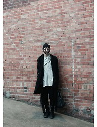 M Appelberg - Rick Owens Mask, Rick Owens Twisted Top, Rick Owens Cardigan, Rick Owens Knitted Shorts, Cedric Jaquemyn Jacket, Rick Owens Boots With Twisted Zipper, Monki Leather Tote - Darklands