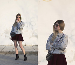 Mary Kapsi - Sweater, Skirt, Boots - Oversized sweater and skater skirt