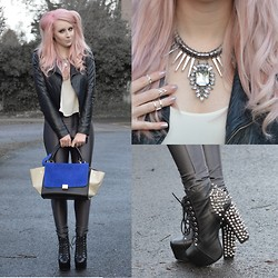 Sammi Jackson - Miss Selfridge Biker Jacket, Topshop Cami, Primark Grey Discopants, Primark Silver Necklace, Primark Knuckle Ring Set, Jeffrey Campbell Lita Spike, Persun Blue Trapeze Bag - GREY DISCOPANTS - LOOK 1