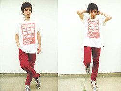 Claudio S - Topman Red Burgundy Skinny Chinos, Zara Shoes - The Young Punx! - Your music is killing me