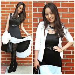 Kimberly Kong - Deb Necklace, H&M Blazer, Rose Wholesale Dress, Prada Bag, Deb Booties, Deb Floral Tights - The Fitted White Blazer