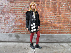 Allie Ng - Grandma's Black Fur Jacket, Joyrich Stars Skirt - You'll never know
