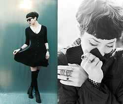 Ama Hatheway - Asos 90's Skater Dress With Buttons, Urban Lace Siren & Shattered Bracelets, Vintage Lace Around Black Boots, Paxton Gate Cast Owl Talon Necklace, Armor Ring, Zipper Coat, Thigh High Socks - Winter Song