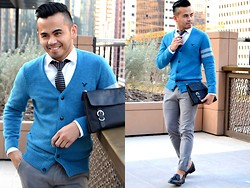 Paul Ramos - American Eagle Outfitters Arm Stripe Cardi, American Eagle Outfitters White Dress Shirt, H&M Black And Grey Knitted Tie, American Eagle Outfitters Grey Slim Pants, Iconic Black Tassel Loafers, Mmsense/ Sm Accs Black Murse - The Eagle has landed