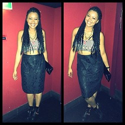 Khanyi L Ndlovu - Black Lace Skirt, Tribal Crop Top, Cut Out Boots - Nubian