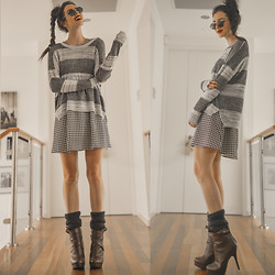 Elle-May Leckenby - Oversized Boyfriend Sweater, Houndstooth Darling Dress, Chestnut Boots - You make my dreams