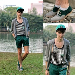 "Matthias C. - Gray Cardigan, Green Short, Jack And Jones Cap, Striped Tank Top, Parisian Two Tone Derby Shoes, Seiko Watch - ""Garuda"""