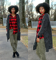 Jennifer W - H&M Mohair Cardigan, Forever 21 Plaid Shirt - Chilled.