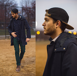 Adam Gallagher - Urban Outfitters Cap, Trenchcoat, Dr Scholls Boots - Sporty