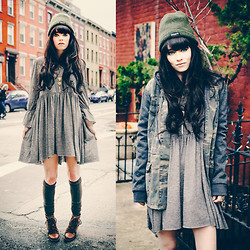 Rachel-Marie Iwanyszyn - Free People Jess Dress, Ti Mo Socks, Le Bunny Bleu Boots, O'neill Jacket, Thinsulate Beanie - A HISTORY IN RUST.