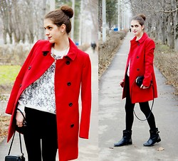 Alina Krasnaya - Stradivarius Coat, Mango Sweater, H&M Bag - MESSY BUN