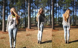 Jennifer Therese - Bullhead Acid Wash Denim, Forever 21 Grey Tank, Nolli Grey Sweater, American Eagle Studded Ankle Boot, Kohls Beaded Necklace - Acid Wash.