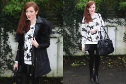 Rebecca Casserly - Forever 21 Betty Boop Sweater, Valentino Tote, Primark Boots, River Island Leather Panel Parka - Toons & Monochrome