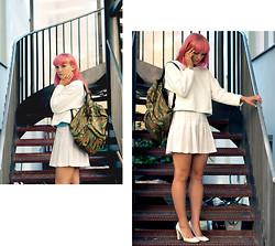Pauline M - Nike Skirt, Sarenza Heels, Vintage Backack, Top, Jumper - B-day Girl