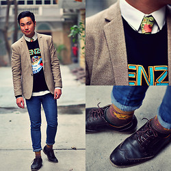 Style Detective Men's Lookbook - Kenzo Flying Tiger Sweater, Dangerfield Floral Tie, Oxford Brogue Boots, Asos Aztec Print Socks, Topman Blazer, Cheap Monday Blue Skinnies - Colourful Deceit Of Happiness.