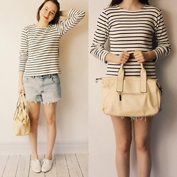 Olivia DeGrado - Ll Bean Striped T Shirt, Thrifted Cut Offs, Keds - Sunny Days Ahead