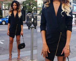 """Slim"" Shay D - Missguuided Blazer Dress, Shoe Cult Geneva Sandal - All Dressed Up In Love"