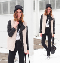 Gabrielle Lacasse - Aritzia Wool Vest, American Apparel Easy Jeans, Infiniteen Leather Jacket, Eluxe Do Epic Chic T Shirt, Converse, Bcbg Leather Bag - Layering a wool vest