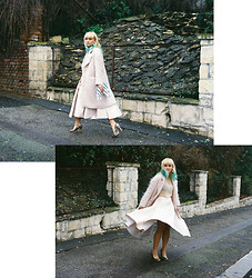 Pauline M - H&M Skirt, H&M Coat, American Apparel Nude Mesh Top, Topshop Heels, Choies Unicorn Bag - Pink Ladies