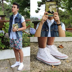 Leonardo Moura - Topman Shirt, Zara Denim Vest, American Apparel Watch, Tropical Shorts, Converse All Star - Gur