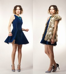 MonCherries . - Frontrowshop Neoprene Dress, Romwe Fur Vest - Neoprene dress and fur vest