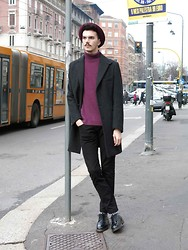 Simone Munari - H&M Hat, Zara Sweater, Sartorial Coat, Zara Pants, Cult Shoes - Milan Fashion Week Day 3