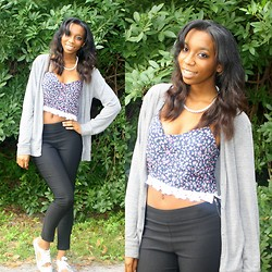 Alexa C - Floral Print Crop Top, High Waisted Skinny Pants, Cardigan, Jeffrey Campbell Sneakers - XO